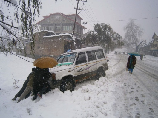 December snow in Srinagar, Kashmir & Jammu.