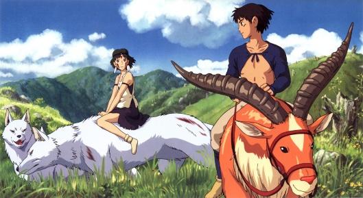 Miyazaki's Mononoke Hime: San and Ashitaka.